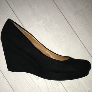 Black Suede Wedge Pumps